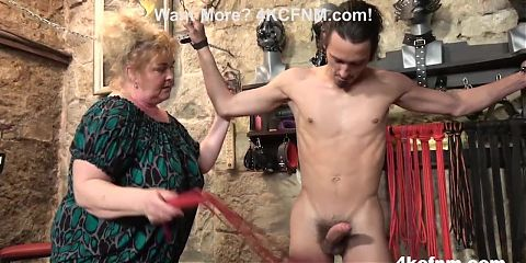 Fat Mature Bitch Ties Up and Sucks a Twink - CFNM