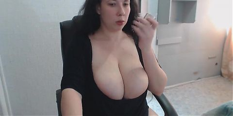 Huge boobs of chubby auntie